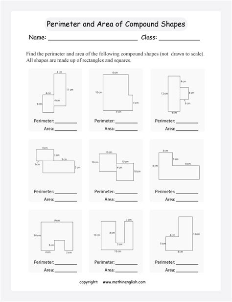 printable area of composite figures worksheets composite figures area worksheet opossumsoft