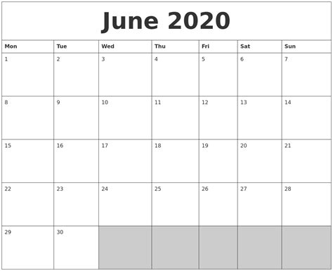 blank calendar template starting with monday june 2020 blank printable calendar