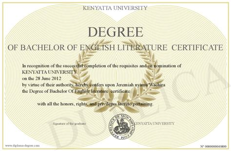 A Degree In Lit by Degree Of Bachelor Of Literature Certificate