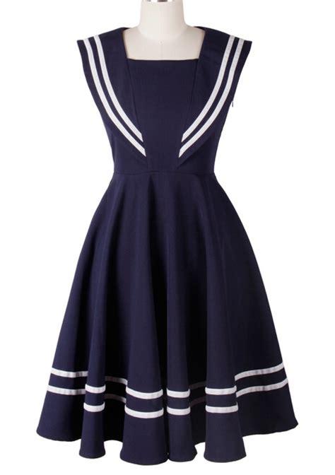 Dress Sailor 1950s 50s vintage rockabilly sailor dress navy blue