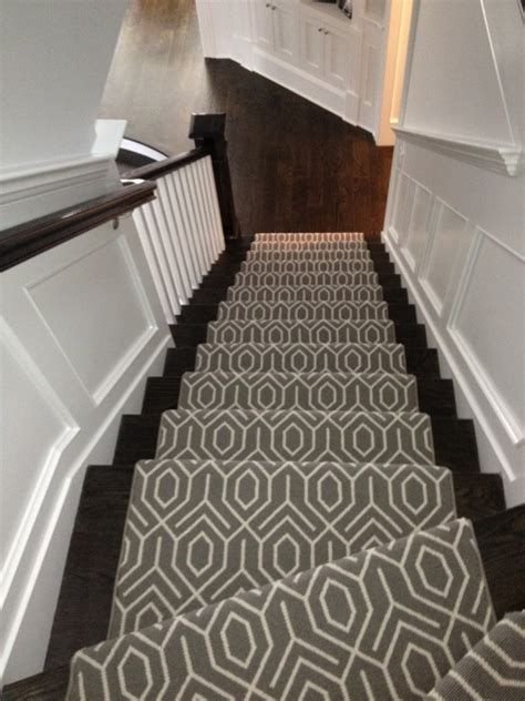 stairway to darkness rug geometric stair runner transitional entrance foyer winick design