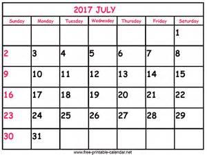 Printable July 2017 Calendar Print Calendar 2017 July