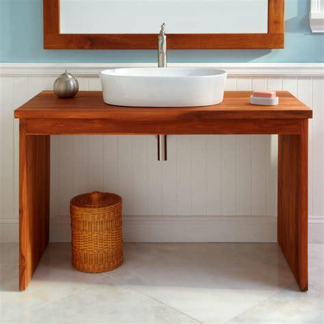 Bathroom Vanities And Sink Consoles 48 Quot Capelle Teak Console Vessel Sink Vanity Modern