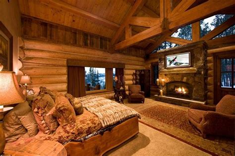 Log Home Bedrooms | awesome log cabin bedroom dream home pinterest