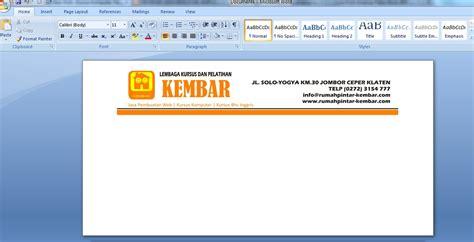 ukuran membuat kop surat membuat kop amplop surat di ms word 2007 kursus komputer