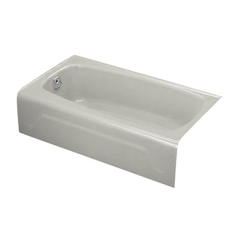 54 inch bathtub left drain shop kohler seaforth ice grey cast iron rectangular
