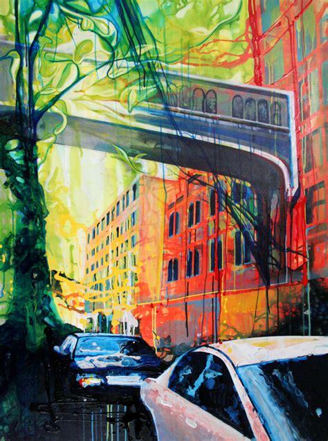 acrylic painting nyc crossover new york city florida june 2009 45 x 60