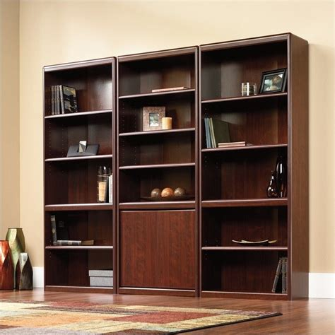 sauder cornerstone library bookcase in classic cherry 422313