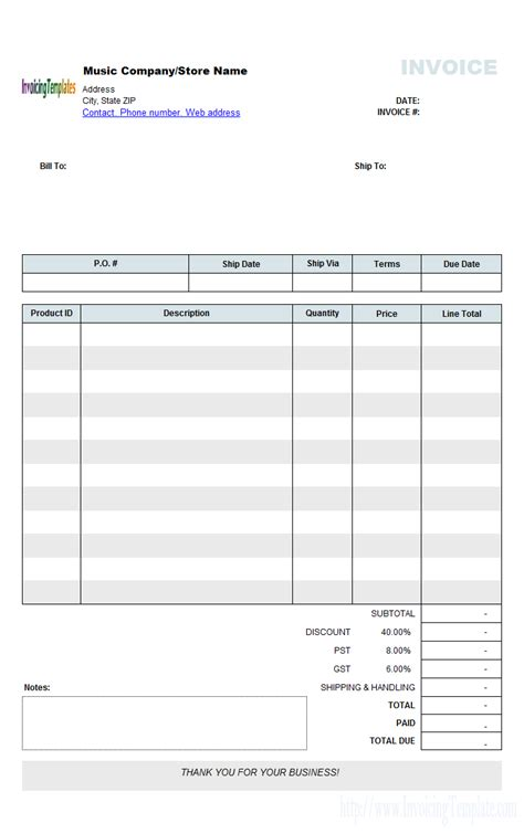 Music Store Invoicing Sle Wholesale Store Receipt Template