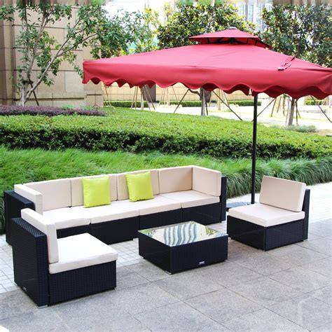 Umax 7 12pc Outdoor Rattan Wicker Sofa Set Wicker Seating Patio Furniture