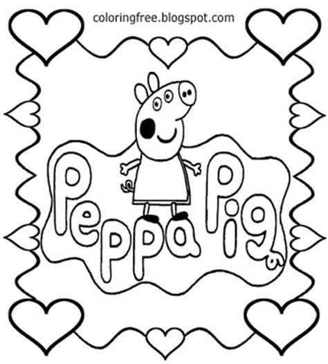 Peppa Pig Valentines Coloring Page | free coloring pages printable pictures to color kids