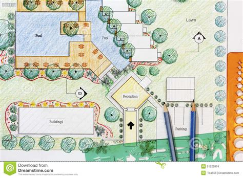How To Read Dimensions On A Floor Plan landscape architect design hotel resort plan stock photo