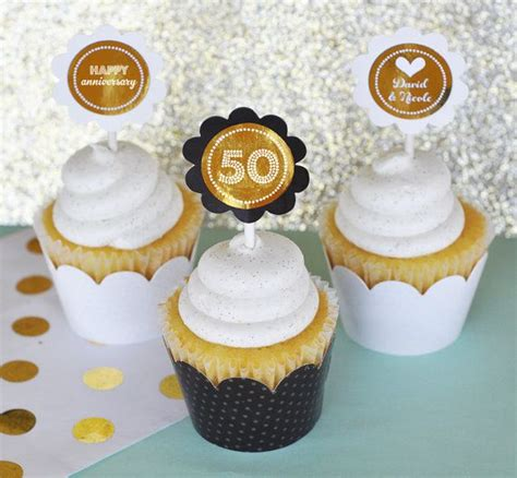 50th anniversary cupcake toppers 50th birthday by modparty 50th wedding anniversary