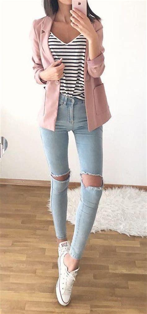 Destroyed Denim Slip On In Pink 25 best ideas about pink blazer on