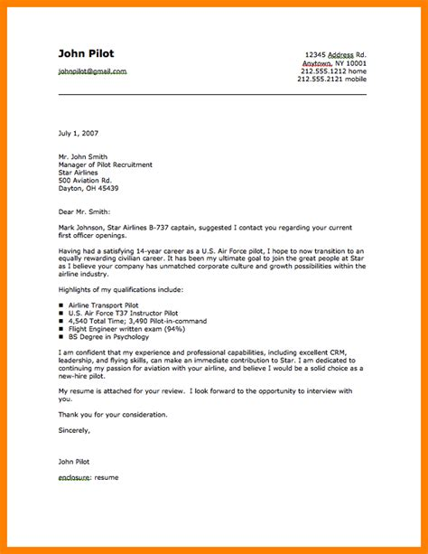 11 pilot cover letter address exle