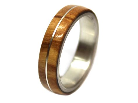 olivewood sterling silver inlay wooden ring wooden rings