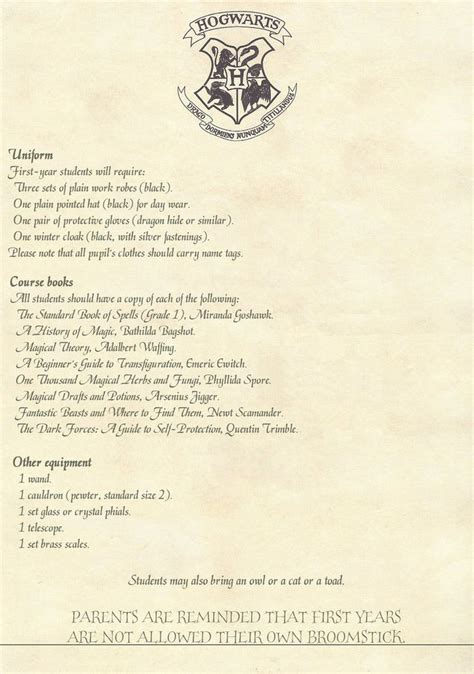 Hogwarts Acceptance Letter Supply List Hogwarts School Supply List Back To School Supply List Hogwarts And School