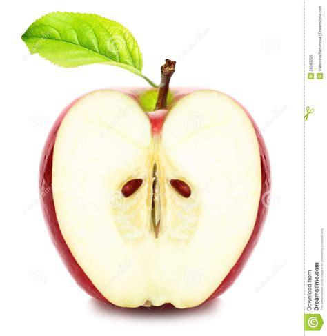 imagenes de uñas pintadas ala mitad mitad de la manzana con la hoja verde imagen de archivo