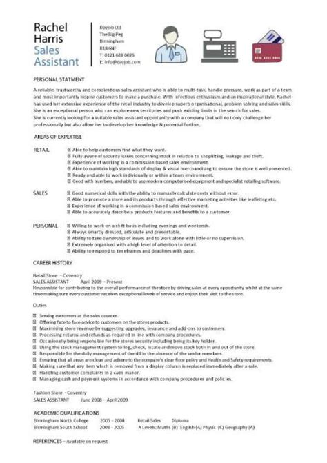 Sles Of Assistant Resumes by Sales Assistant Cv Exle Shop Store Resume Retail Curriculum Vitae