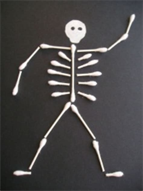 skeleton crafts q tip skeleton