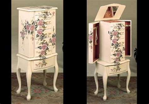 ivory jewelry armoire new jewelry armoire ivory finish wood w hand painted roses floral beautiful ebay