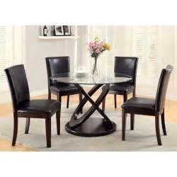 Contemporary Glass Dining Table Sets Glenwood Contemporary Style Glass Top Espresso Finish Dining Table Set Ebay