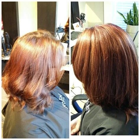 partial caramel highlights before and after partial highlights in caramel with an