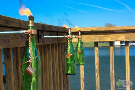 tiki torches backyard four 375ml wine bottle tiki torches outdoor decor patio