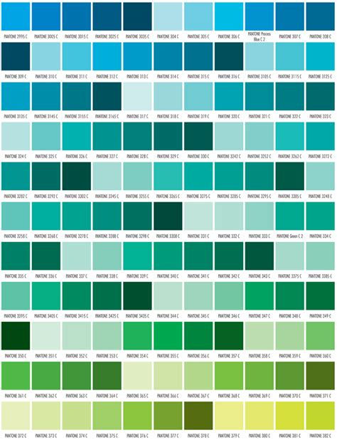 green color chart pms color chart