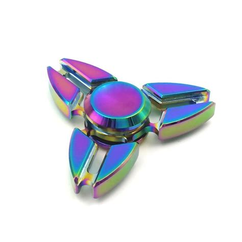 Fidget Spinner Theree Side Rainbowhand Spinner Time Spin 3 7 Menit rainbow fidget finger spinner titanium edc bearing focus stress a48 ebay