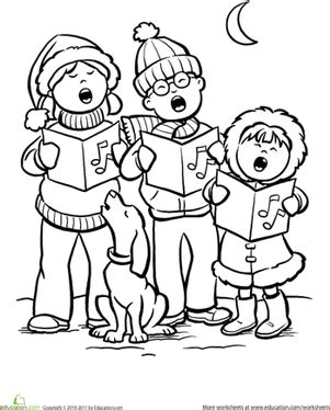 coloring page christmas carolers color the carolers worksheet education com