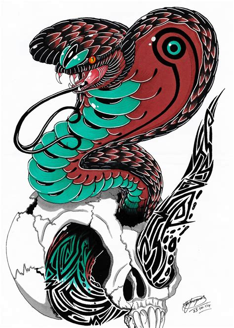 tribal king cobra tattoo design coloured by