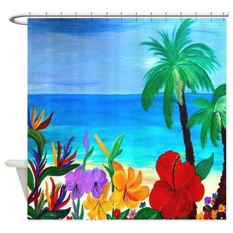 tropical kitchen curtains tropical shower curtain by bythebeach