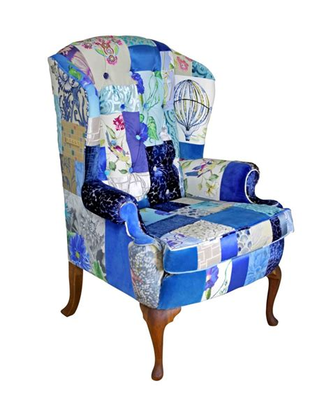 blue patchwork chair bespoke chairs