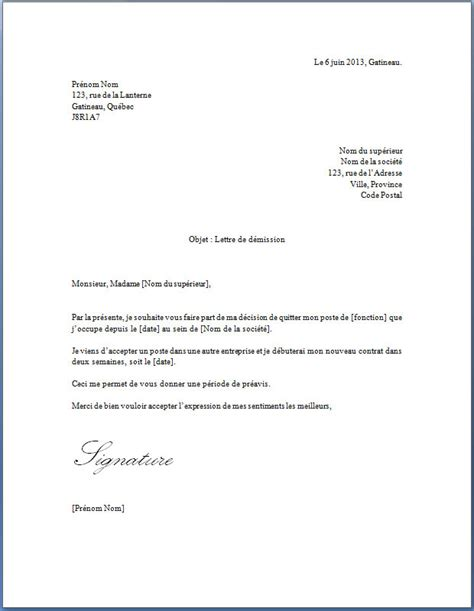 Exemple De Lettre De Démission Simple Sans Préavis Exemple De Lettre De D 233 Mission Qu 233 Bec Covering Letter Exle