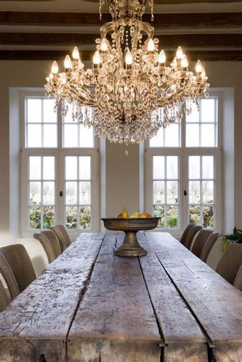 rough farmhouse table crystal chandelier not this exact