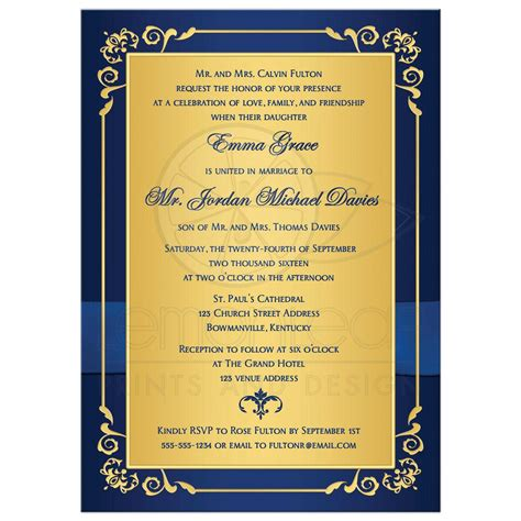 Home Bar Decor Ideas wedding invitation royal blue gold floral monogram