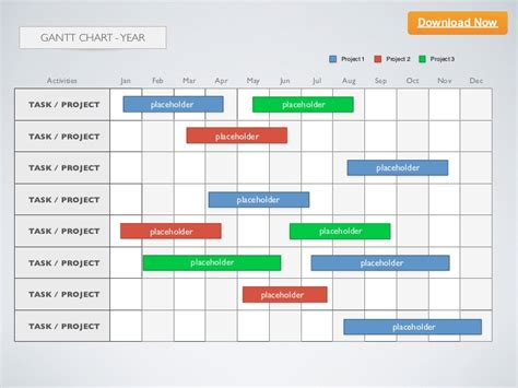 Keynote Template Gantt Chart Year Gantt Chart Template For Powerpoint