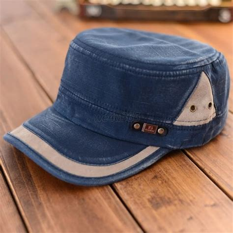 cool washed flat top canvas baseball cap color block