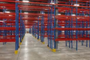 blue orange industrial pallet rack shelving