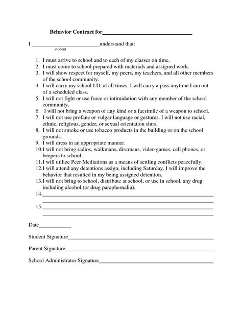 behavior contract template gse bookbinder co