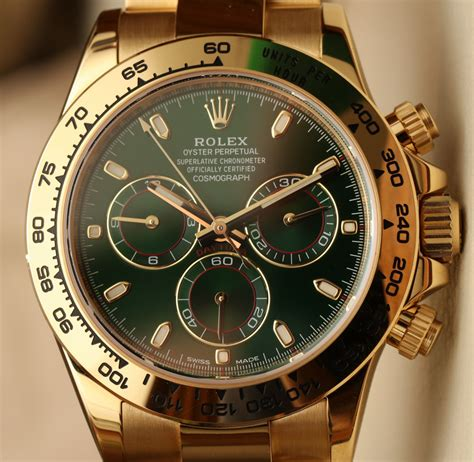 Rolex Daytona Gold rolex cosmograph daytona 116508 green 18k yellow gold on ablogtowatch