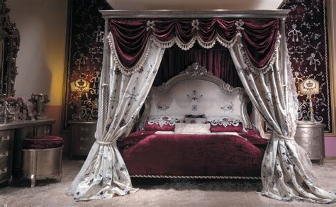 gothic canopy bed scarlet red with silver leaf bed with canopy and hand