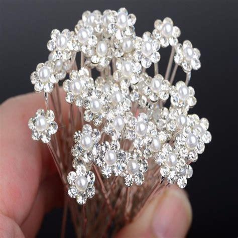 Flower Rhinestone Hair Pin 20pcs fashion wedding bridal pearl flower clear