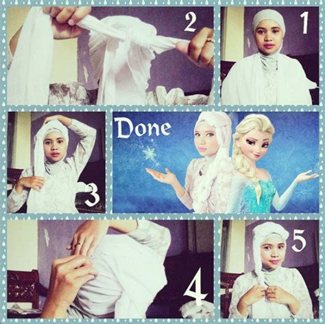 tutorial hijab elsa frozen hijab party ala elsa frozen dream co id