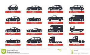 Types Of Cars Car Type And Model Objects Icons Set Automobile Vector