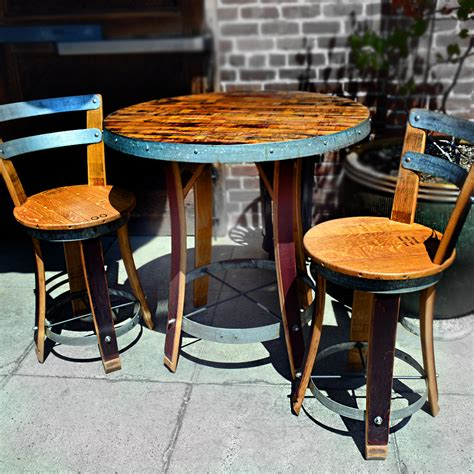 Barrel Bistro Table Wine Barrel Bistro Table With Two Chairs Napa General