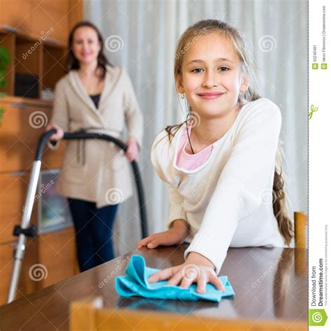 mother daughter house mother and daughter clean house stock image image 63240481