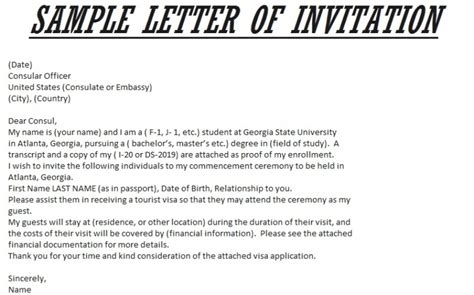 Cover Letter To Embassy For Visa Sle Invitation Letter To Usa Sle Invitation Letter For