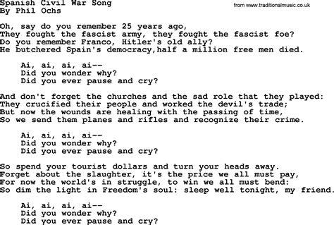 song ware phil ochs song civil war song phil ochs lyrics